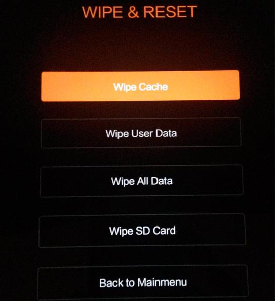 Sigue con el Wipe Cache